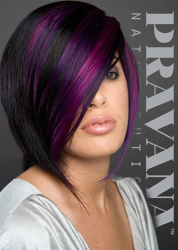 Woman With Black and Purple Hair